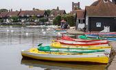 Group of rowing boats at Thorpeness boating lake — Foto de Stock