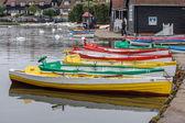 Group of rowing boats at Thorpeness boating lake — Stock Photo