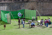 Archery demonstration at Alnwick Castle — Stock Photo