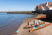 Rowing boats beached on the sand at Whitby  — Stock Photo