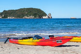 Kayaks at Hahei beach in New Zealand — Foto de Stock