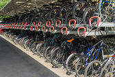 Cycle rack at East Grinstead railway station — Stock Photo