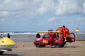 RNLI Lifeguards on duty at Bude in Cornwall — Stok fotoğraf