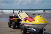 RNLI Lifeguards on duty at Bude in Cornwall — Stockfoto