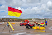 RNLI Lifeguards on duty at Bude in Cornwall — Stock Photo
