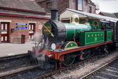 Golden Arrow Steam Engine in Sheffield Park station East Sussex — Stock Photo