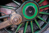 Close-up steam train wheel at Sheffield Park Station East Sussex — Stock Photo