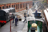 Bluebell steam engine taking on water at Sheffield Park station  — Stok fotoğraf