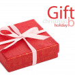 Single red gift box with pink ribbon — Stock Photo #37490585