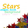 Christmas decoration of colored confetti stars — Stock Photo