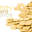 Golden coins isolated on white — Stock Photo