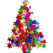 Stock Photo: Christmas tree composed of colored stars.