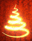 Abstract golden christmas tree on red background — Stock Photo