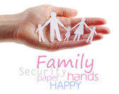 Paper family in hands — Stock Photo