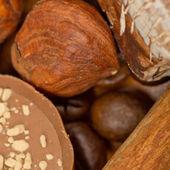 Coffee beans, cinnamon and nuts — 图库照片