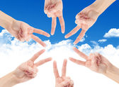 Hands of teamwork , forming the star shape — Foto de Stock