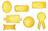 Oro etichette impostate, isolate su sfondo bianco — Foto Stock