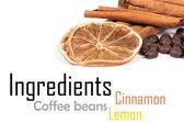 Skořice, citron a kávové boby — Stock fotografie