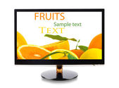 Fruits in monitor — Stock Photo