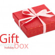 Single red gift box with pink ribbon — Stock Photo #37500333