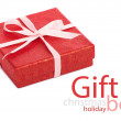 Single red gift box with pink ribbon — Stock Photo #37501389