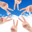 Stock Photo: Hands of teamwork , forming star shape