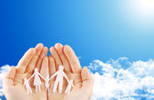 Hands on blue sky — Stock Photo