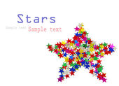 Big star composed of many colored stars on white — Stock Photo