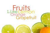Vitamin C Overload, Stacks of sliced fruit isolated on white — ストック写真