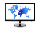 World map in monitor — Stockfoto