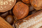 Coffee beans, cinnamon and nuts — Stock Photo