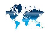 Modré a bílé ilustrovaná mapa světa s bílým pozadím — Stock fotografie