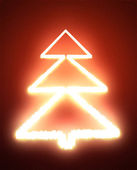 Abstract Christmas tree on the red background — Stock Photo