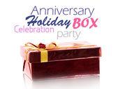 červená dárková krabička na bílém pozadí — Stock fotografie