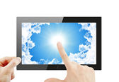 Black generic tablet pc, 3d render. — Stock Photo