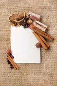 Old paper for recipes and spices on burlap closeup — Stockfoto