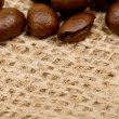 Coffee beans on sack(burlap) — Stock Photo