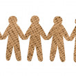 Stock Photo: Team of burlap people on white background