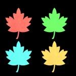 Red, green, blu and orange maple leaf. — Stock Photo #37516031