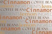 Coffee theme words background — Stock Photo