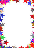 Star shaped confetti of different colors frame — Stock Photo