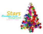 Christmas tree composed of colored stars. — Stock Photo