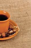 Closeup shot of freshly prepared cup of italian espresso — Stock Photo