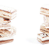 Few pieces of nougat stacked together on white — Stock Photo