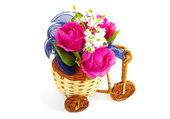 Decorative bicycle vase with flowers — Stock Photo