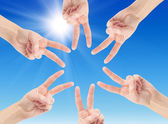 Hands of teamwork , forming the star shape — Stock Photo