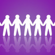 Stock Photo: Team of paper people on violet background