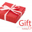 Single red gift box with pink ribbon — Stock Photo #37529011