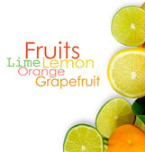 Vitamin C Overload, Stacks of sliced fruit isolated on white — Stock Photo