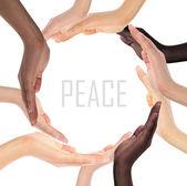 Conceptual symbol of multiracial human hands making a circle — Stock Photo
